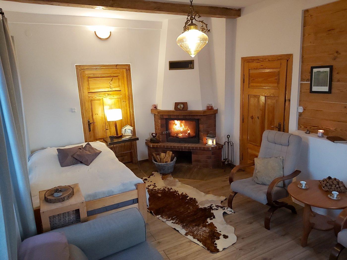 W domku drewnianym, pokój kominkowy z łóżkiem podwójnym i sofa rozkładana.