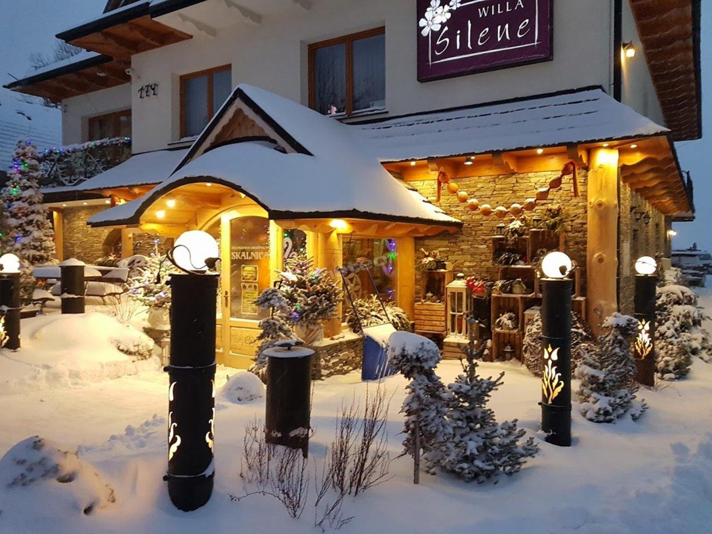 Restauracja i willa zimą