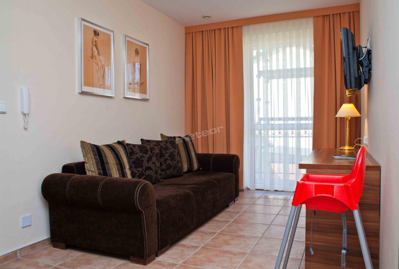 salon z dużą dwuosobową kanapą