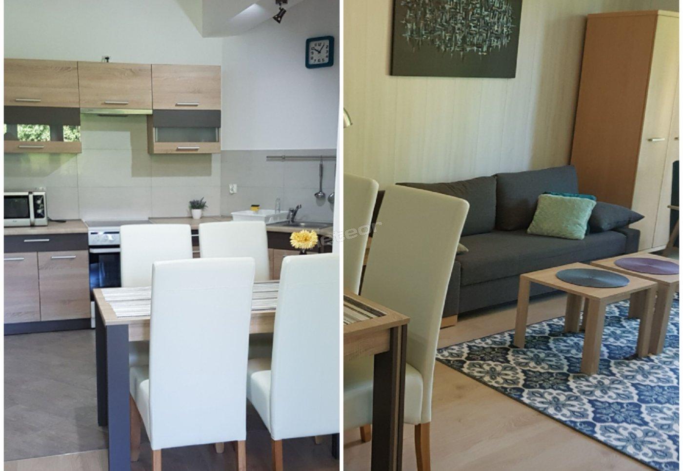 W pełni wyposażona kuchnia, wygodne miejsce do przygotowania i zjedzenia posiłków.