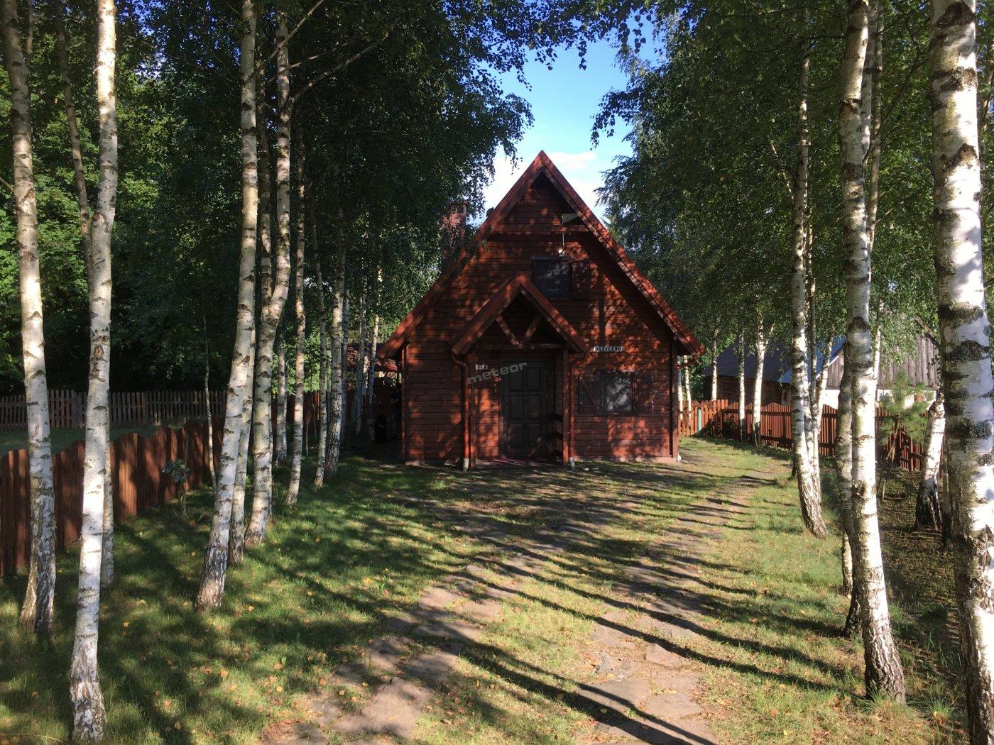 Front domu - dojazd alejką brzozową wyłożoną łupkami z gór Świętokrzyskich