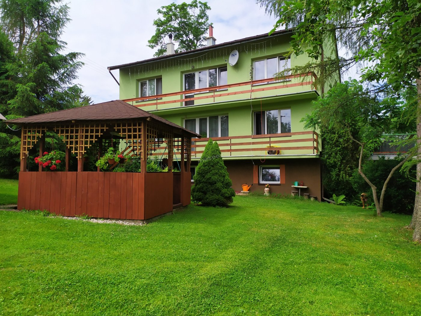 Zielony dom z częścią ogrodu